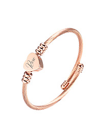 cheap -Personalized Customized Bracelet Titanium Steel Classic Name Engraved Gift Promise Festival Circle Heart Shape 1pcs Gold Silver Rose Gold / Laser Engraving