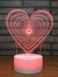 cheap -1pc Heart Shape 3D Nightlight Color-changing USB Creative / Birthday / with USB Port 5 V