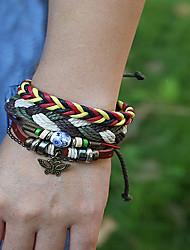 cheap -3pcs Men's Vintage Bracelet Earrings / Bracelet Loom Bracelet Layered Butterfly Weave Classic Vintage Ethnic Fashion Boho Wooden Bracelet Jewelry Brown For Daily School Street Holiday Festival