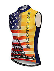 cheap -21Grams National Flag Men's Sleeveless Cycling Jersey - Black / Red Bike Jersey Top Breathable Moisture Wicking Quick Dry Sports Polyester Elastane Terylene Mountain Bike MTB Road Bike Cycling