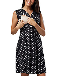 cheap -Women's Knee-length Maternity Black Dress A Line Polka Dot S M