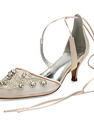 cheap -Women's Wedding Shoes High Heel Pointed Toe Wedding Party & Evening Satin Mesh Rhinestone Lace-up White Black Champagne