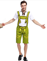 cheap -Oktoberfest Beer Outfits Lederhosen Men's Blouse Pants Bavarian Costume Black Green Olive Brown