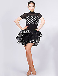 cheap -Latin Dance Dresses Women's Training / Performance Crystal Cotton / Mesh Plaid / Split Joint Short Sleeve Dress