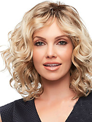 cheap -Synthetic Wig Curly Asymmetrical Wig Blonde Short Strawberry Blonde / Light Blonde Synthetic Hair 10 inch Women's Party Women Blonde