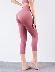 cheap -Women's Running Cropped Pants Elastic Waistband High Waist Sports Winter 3/4 Tights Bottoms Yoga Running Fitness Training Breathable Quick Dry Soft Solid Colored Black Blushing Pink Red Light Green