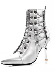 cheap -Women's Boots Stiletto Heel Pointed Toe Rivet PU(Polyurethane) Vintage Fall & Winter Silver / Black / Party & Evening