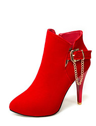cheap -Women's Boots Stiletto Heel Pointed Toe Buckle Faux Leather Booties / Ankle Boots Casual / Minimalism Walking Shoes Spring &  Fall / Fall & Winter Black / Red / Dark Blue