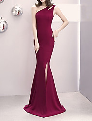 cheap -Mermaid / Trumpet One Shoulder Sweep / Brush Train Satin Elegant & Luxurious / Elegant Formal Evening Dress with Split Front 2020