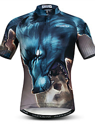 cheap -21Grams 3D Animal Wolf Men's Short Sleeve Cycling Jersey - Blue / Black Bike Jersey Top Breathable Moisture Wicking Quick Dry Sports Polyester Elastane Mountain Bike MTB Road Bike Cycling Clothing