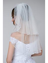 Недорогие -Два слоя Стиль / Гламурный и эффектный Свадебные вуали Фата до локтя с Стразы Тюль / Классическая