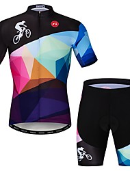 cheap -21Grams Men's Short Sleeve Cycling Jersey with Shorts Rough Black Novelty Bike Clothing Suit Breathable Quick Dry Sports Elastane Novelty Mountain Bike MTB Road Bike Cycling Clothing Apparel