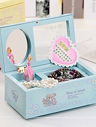cheap -Blue Fairy & Butterfly Kids Musical Jewellery Box - Glittery Music Box with Ring Holder