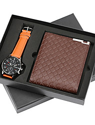 cheap -Men's Dress Watch Quartz New Arrival Chronograph Analog Brown / One Year / Leather