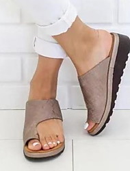 cheap -Women's Sandals Flat Heel Round Toe PU Spring &  Fall / Summer Black / Leopard / Purple