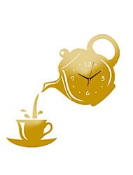 cheap -DIY Teapot Shape Acrylic Mirror Surface Wall Clock Sticker Decoration