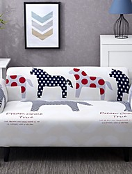 cheap -Cartoon Horse Print Dustproof All-powerful Slipcovers Stretch Sofa Cover Super Soft Fabric Couch Cover with One Free Pillow Case