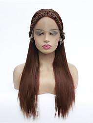 cheap -Synthetic Lace Front Wig Straight Free Part Lace Front Wig Medium Length Dark Auburn#33 Synthetic Hair 8-26 inch Women's Synthetic Dark Brown