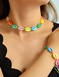 cheap -Women's Necklace Loom Bracelet Braided Shell Holiday Ethnic Boho Earrings Jewelry Green / Blue / Rainbow For Gift Daily Holiday Festival 1 set