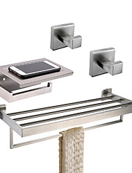 cheap -Bathroom Accessory Set / Towel Bar / Toilet Paper Holder New Design / Creative / Multifunction Contemporary / Traditional Stainless Steel + A Grade ABS / Stainless Steel / Metal 4pcs - Bathroom Wall