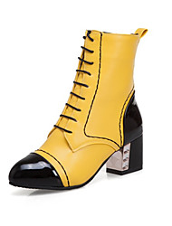 cheap -Women's Boots Chunky Heel Round Toe PU Mid-Calf Boots Spring & Summer Black / White / Yellow / Party & Evening