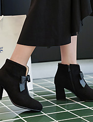 cheap -Women's Boots Chunky Heel Round Toe Bowknot Suede Booties / Ankle Boots Classic / Minimalism Spring / Fall & Winter Black / Green / Beige