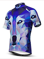 cheap -21Grams 3D Animal Wolf Men's Short Sleeve Cycling Jersey - Sky Blue+White Bike Jersey Top Breathable Moisture Wicking Quick Dry Sports Polyester Elastane Mountain Bike MTB Road Bike Cycling Clothing