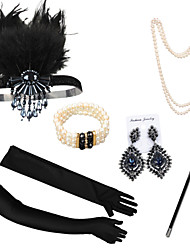 cheap -The Great Gatsby Necklace Earrings Retro Vintage 1920s The Great Gatsby Artificial feather Costume Accessory Sets Gloves Outfits For Party / Cocktail Festival Halloween Carnival Women's Costume