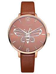 cheap -Women's Dress Watch Quartz Leather Brown 30 m Water Resistant / Waterproof Casual Watch Analog Casual Butterfly - Brown One Year Battery Life