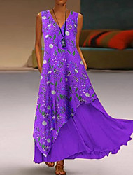 cheap -Women's Sheath Dress - Geometric Purple Red Orange S M L XL
