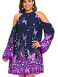cheap -Women's Basic A Line Dress - Floral Patchwork Print Red Navy Blue Purple XXXL XXXXL XXXXXL