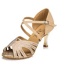 Недорогие -Жен. Танцевальная обувь Синтетика Обувь для латины Стразы / Crystal / Rhinestone На каблуках Позолоченная прозрачная пятка Золотой / Кожа