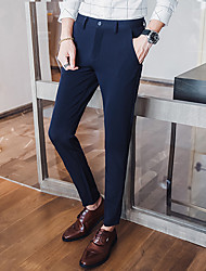 cheap -Men's Basic Dress Pants Pants Solid Colored Full Length Black Navy Blue