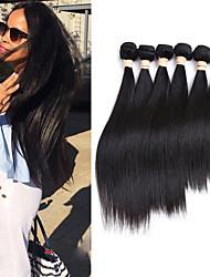 cheap -6 Bundles Peruvian Hair Silky Straight 10A Virgin Human Hair Natural Color Hair Weaves / Hair Bulk 8-30 inch Auburn Natural Black Ombre Human Hair Weaves Odor Free Human Hair Extensions Women's