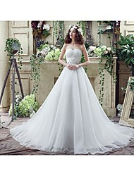 cheap -Ball Gown Strapless Chapel Train Tulle Strapless Little White Dress Made-To-Measure Wedding Dresses with Beading / Crystals / Side-Draped 2020