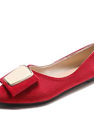 cheap -Women's Flats Flat Heel Bowknot PU Casual Summer Black / Dark Green / Red
