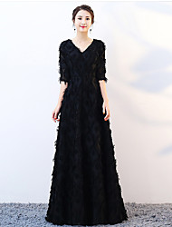 cheap -A-Line V Neck Floor Length Lace Sparkle & Shine / Elegant Formal Evening Dress with Feathers / Fur 2020