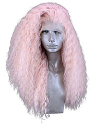 cheap -Synthetic Lace Front Wig Curly Side Part Lace Front Wig Pink Long Pink Synthetic Hair 18-24 inch Women's Adjustable Heat Resistant Party Pink