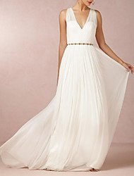 cheap -A-Line V Neck Sweep / Brush Train Chiffon Regular Straps Casual Backless Wedding Dresses with Beading 2020