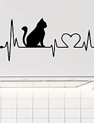 cheap -Heartbeat Cat  Wall Stickers - Animal Wall Stickers Animals / Landscape Study Room / Office / Dining Room / Kitchen