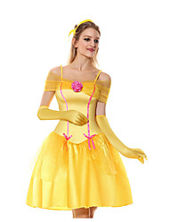 cheap -Beauty and the Beast Costume Women's TV / Movie Halloween Performance Cosplay Costumes Theme Party Costumes Women's Dance Costumes Terylene Split Joint