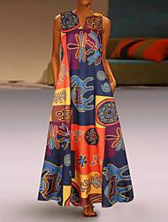 cheap -Women's Sheath Dress Maxi long Dress - Sleeveless Print Patchwork Print Fall V Neck Plus Size Vintage Loose 2020 Red Orange S M L XL XXL 3XL 4XL 5XL