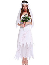 cheap -Ghostly Bride Costume Women's Scary Halloween Performance Cosplay Costumes Theme Party Costumes Women's Dance Costumes Polyester Split Joint