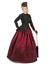 cheap -Duchess Cerridwen Goddess Victorian 1910s Edwardian Dress Party Costume Women's Feather Costume Red / black Vintage Cosplay Daily Wear Long Sleeve Floor Length Ball Gown Plus Size / Blouse / Blouse