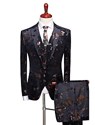 cheap -Black / Navy Blue Patterned Slim Fit Polyester Suit - Notch Single Breasted One-button