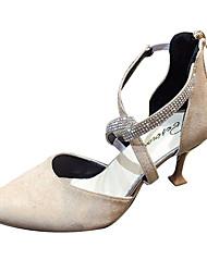 cheap -Women's Heels Pumps Kitten Heel Rhinestone PU Casual Summer Black / Beige / Daily