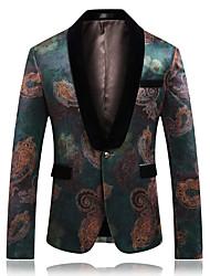 cheap -Men's Party / Work Basic Fall & Winter Long Jacket, Geometric Shawl Lapel Long Sleeve Rayon / Polyester / Lambskin Green