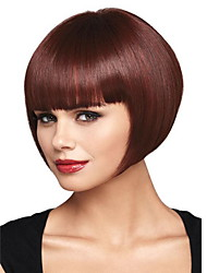 cheap -Synthetic Wig Straight With Bangs Wig Burgundy Short Brown / Burgundy Synthetic Hair 28 inch Women's Women Burgundy