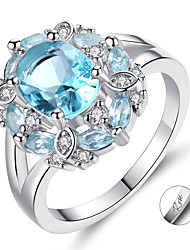 cheap -Personalized Customized Blue Cubic Zirconia Ring Zircon Classic Engraved Gift Promise Festival Round 1pcs Blue / Laser Engraving