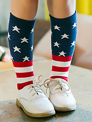cheap -Kid's Boys' Girls' Cosplay American Flag Cosplay Costume Socks / Long Stockings For Halloween Daily Wear Cotton Independence Day Socks